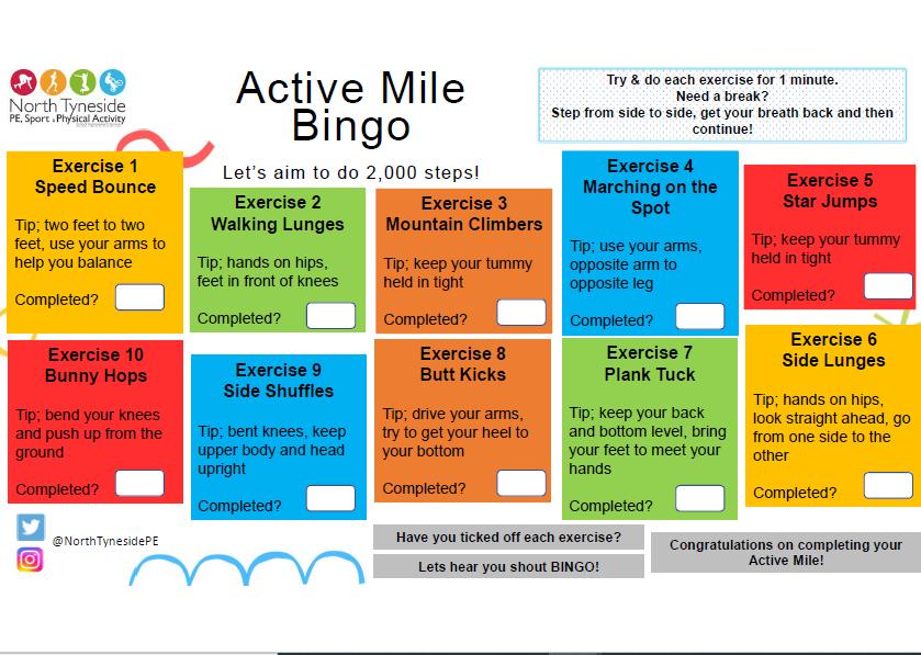 Active Mile Bingo